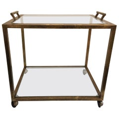 Art Deco Style Patinated Brass Drinks Cart
