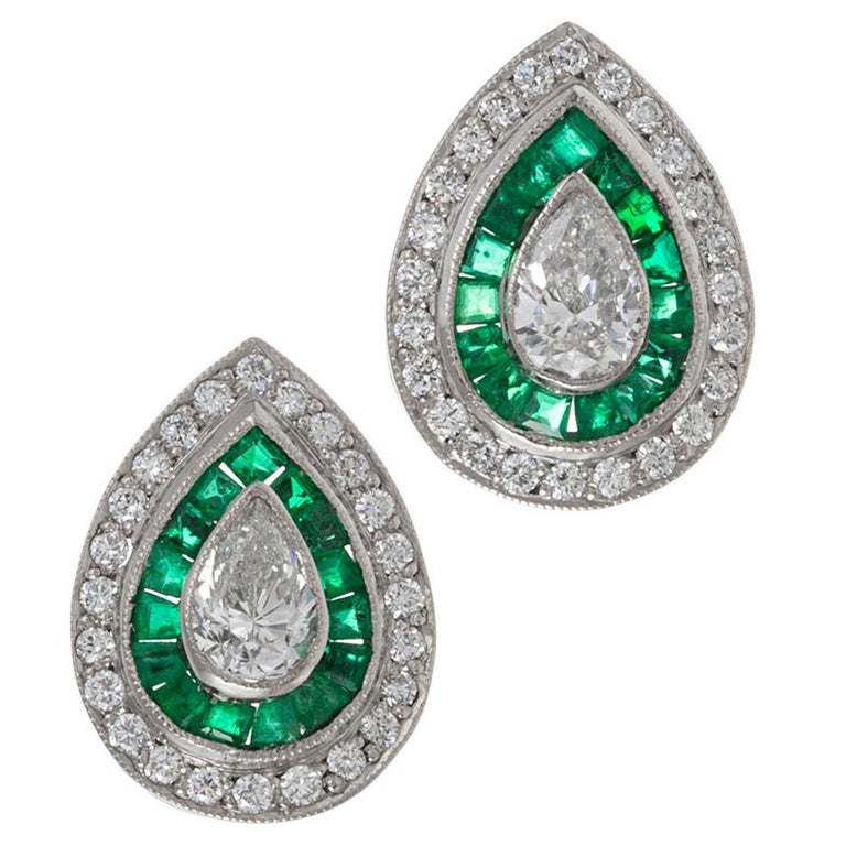 Art Deco Style Pear Diamond and Emerald Earrings For Sale