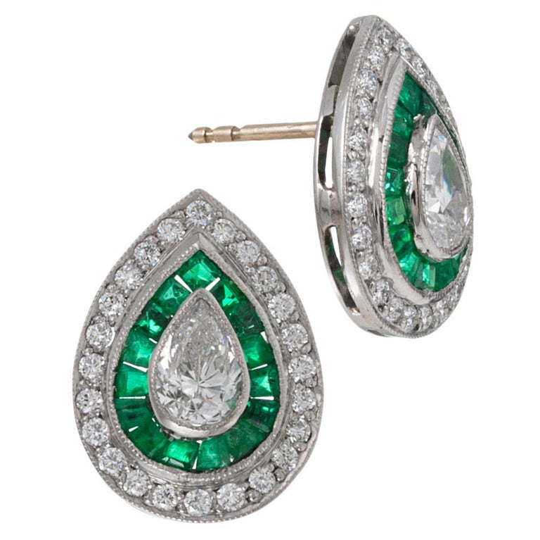 Pear Cut Art Deco Style Pear Diamond and Emerald Earrings For Sale
