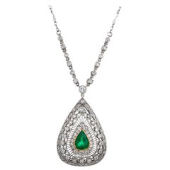 Art Deco Style Pear Emerald and Diamond Necklace