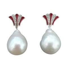 Art Deco Style Pear Shape Baroque Pearls Gold Diamonds Enamel Dangle Earrings