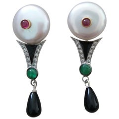 Art Deco Style Pearls Ruby Emeralds Gold Diamonds Onyx Enamel Jade Drop Earrings