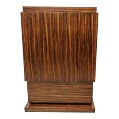 Art Deco Style Pedestal Zebrano Wood