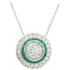 Art Deco Style Pendant 18 Karat Gold Diamonds and Emerald Art Deco Necklace