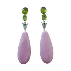 Art Deco Style Peridot Phosphosiderite Gold Diamonds Green Enamel Drop Earrings