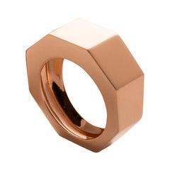 Art Deco Style Personalized 18 Karat Rose Gold Unisex Modern Design Ring