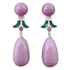 Art Deco Style Phosphosiderite Ruby Gold Diamonds Green Enamel Dangle Earrings