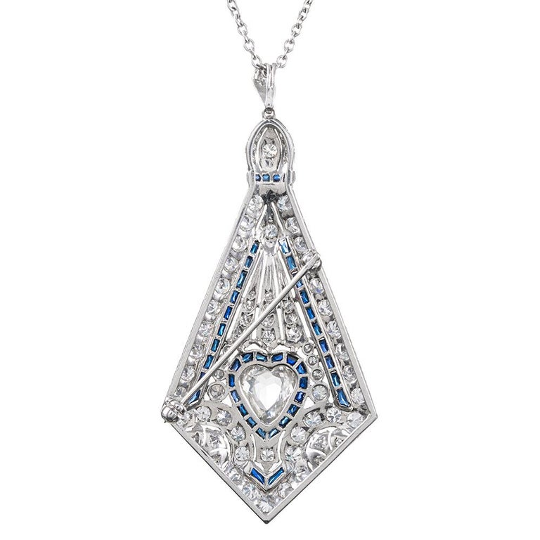 Heart Cut Art Deco Style Pin/Pendant with Heart-Shaped Diamond For Sale
