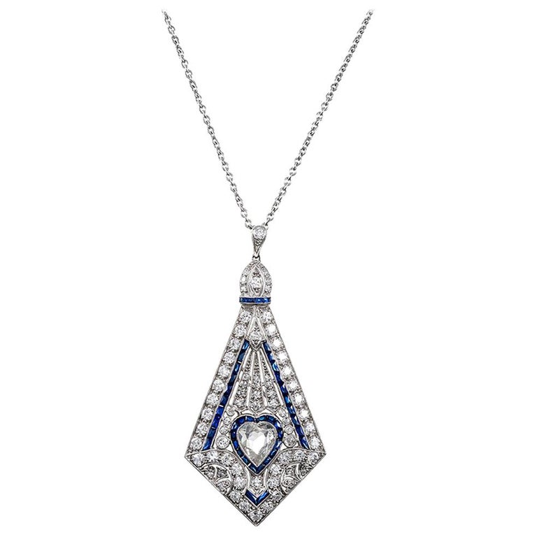Art Deco Style Pin/Pendant with Heart-Shaped Diamond For Sale