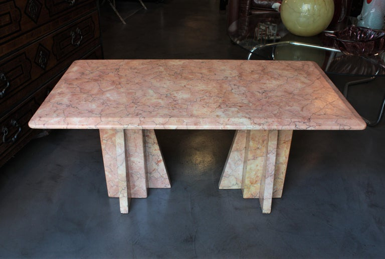 Art Deco Style Pink Marble Coffee Table, Italy, 1930s For Sale 6