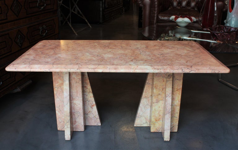 Art Deco Style Pink Marble Coffee Table, Italy, 1930s For Sale 8
