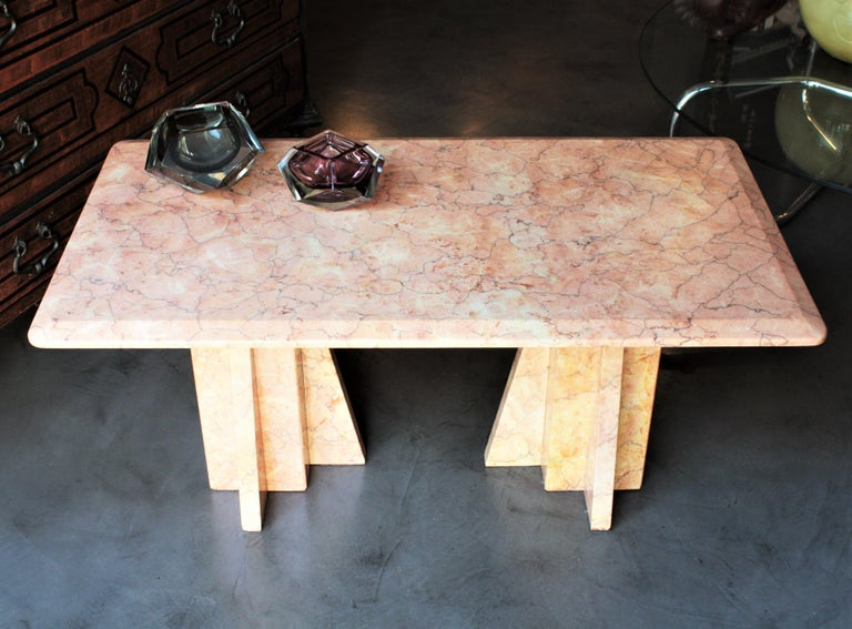 20th Century Art Deco Style Pink Marble Coffee Table, Italy, 1930s For Sale