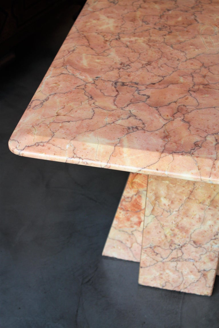 Art Deco Style Pink Marble Coffee Table, Italy, 1930s For Sale 2