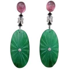 Art Deco Style Pink Tourmaline Gold Diamonds Enamel Engraved Jade Drop Earrings