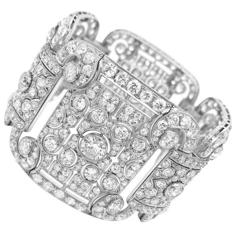 Art Deco Style Platinum 41.2 Carat Diamond Bracelet For Sale