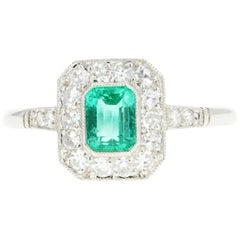 Art Deco Style Platinum .60 Colombian Emerald and Diamond Ring