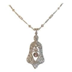 Art Deco Style Platinum and Cognac Diamond Drop Necklace