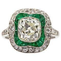 Art Deco Style Platinum Antique Diamonds and Emeralds Ring