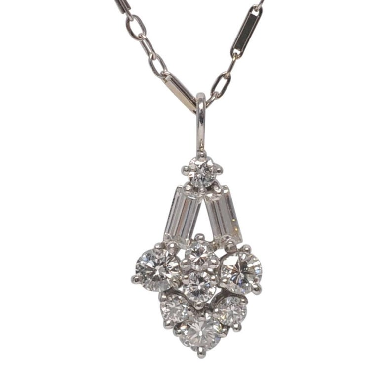 Art Deco Style Platinum Diamond Pendant