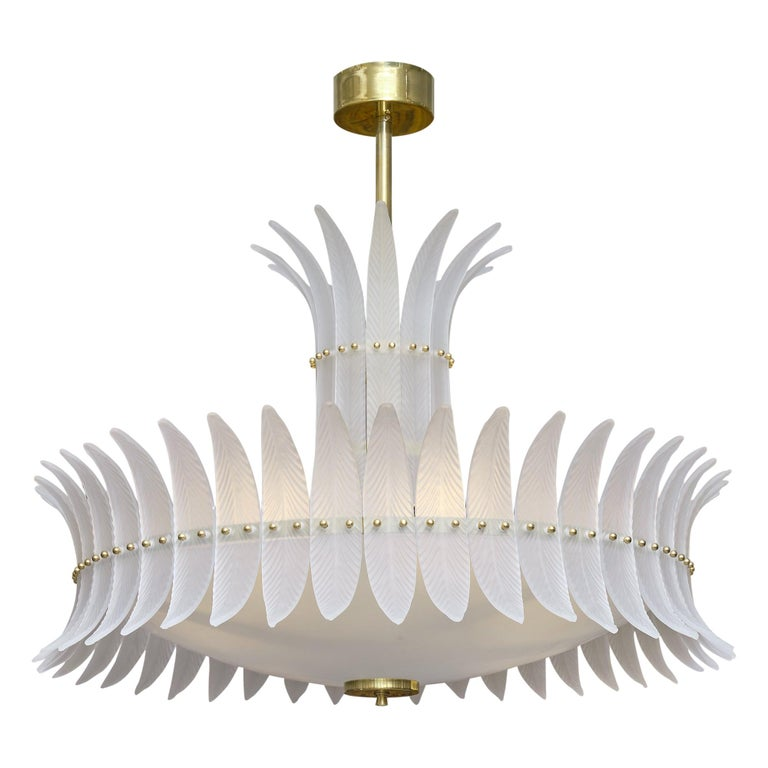 """Art Deco Style """"Plume"""" Murano Glass Chandelier For Sale"""