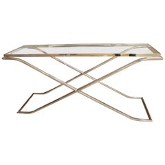 Art Deco Style Polished Chrome and Glass Console