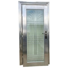Art Deco Style Polished Steel Chrome and Laminated Glass Door One of a Kind