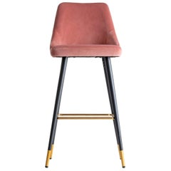 Art Deco Style Powdery Pink Velvet and Black Lacquered Feet Metal Bar Stool