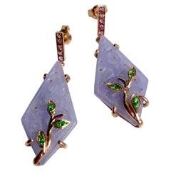Art Deco Style Purple Jade Rose Gold Rose Tourmaline Tsavorite Dangle Earrings