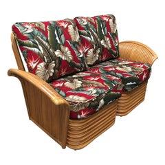 "Art Deco Style ""Hawaii"" Rattan Fan Arm Two-Seat Sectional Loveseat Sofa"
