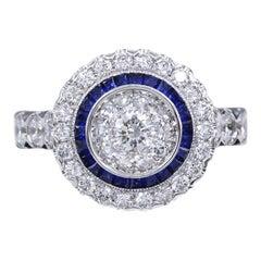 Art Deco Style Ring 18 Karat White Gold Diamonds and Blue Saphhire Art Deco Ring