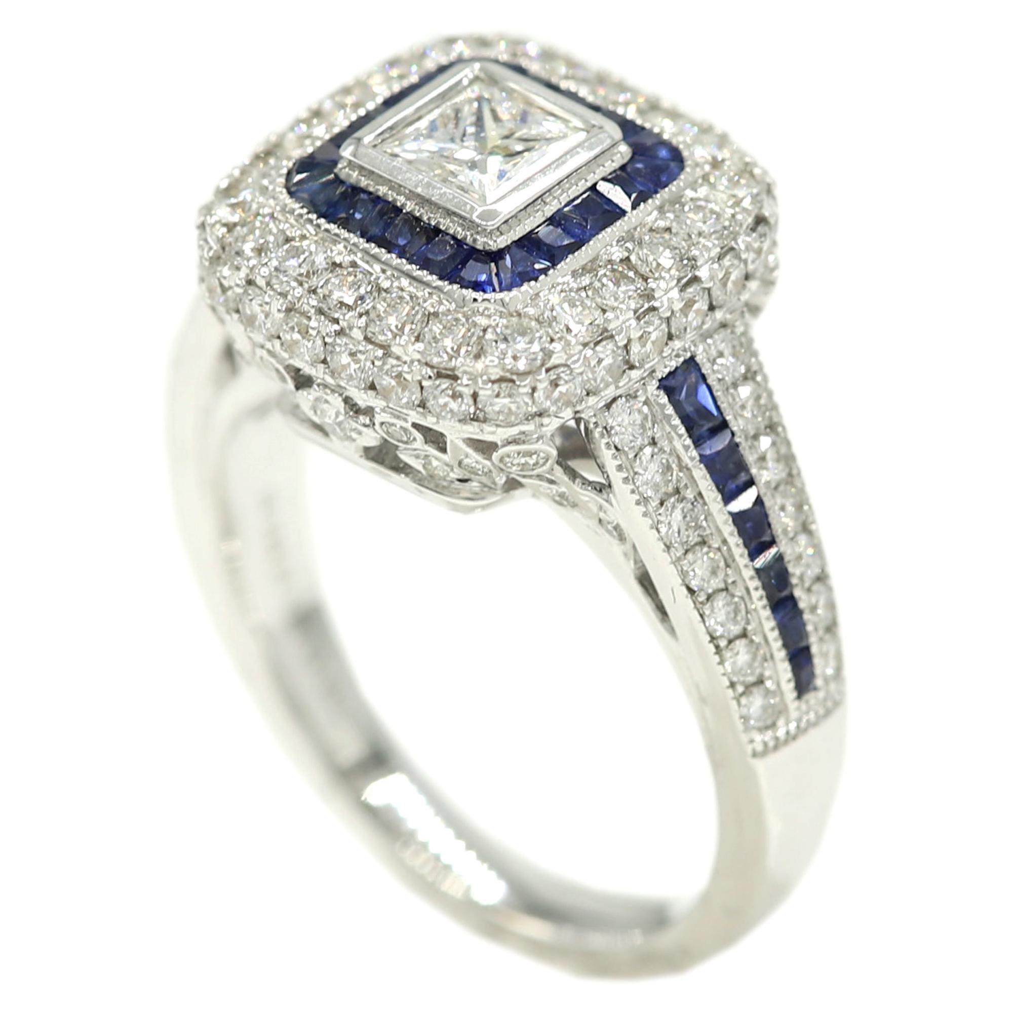 Art Deco Style Ring 18 Karat White Gold, Princess Cut Diamond and Blue Sapphire