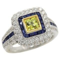 Art Deco Style Ring 18 Karat White Gold Diamonds, Princess Cut Yellow Sapphire