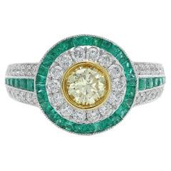 Art Deco Style Ring Emerald and Diamonds 18 Karat White Gold and Yellow Diamond