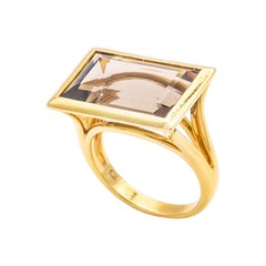 Art Deco Style Ring in 18K Yellow Gold Set with an Emerald Size Smoked Quartz