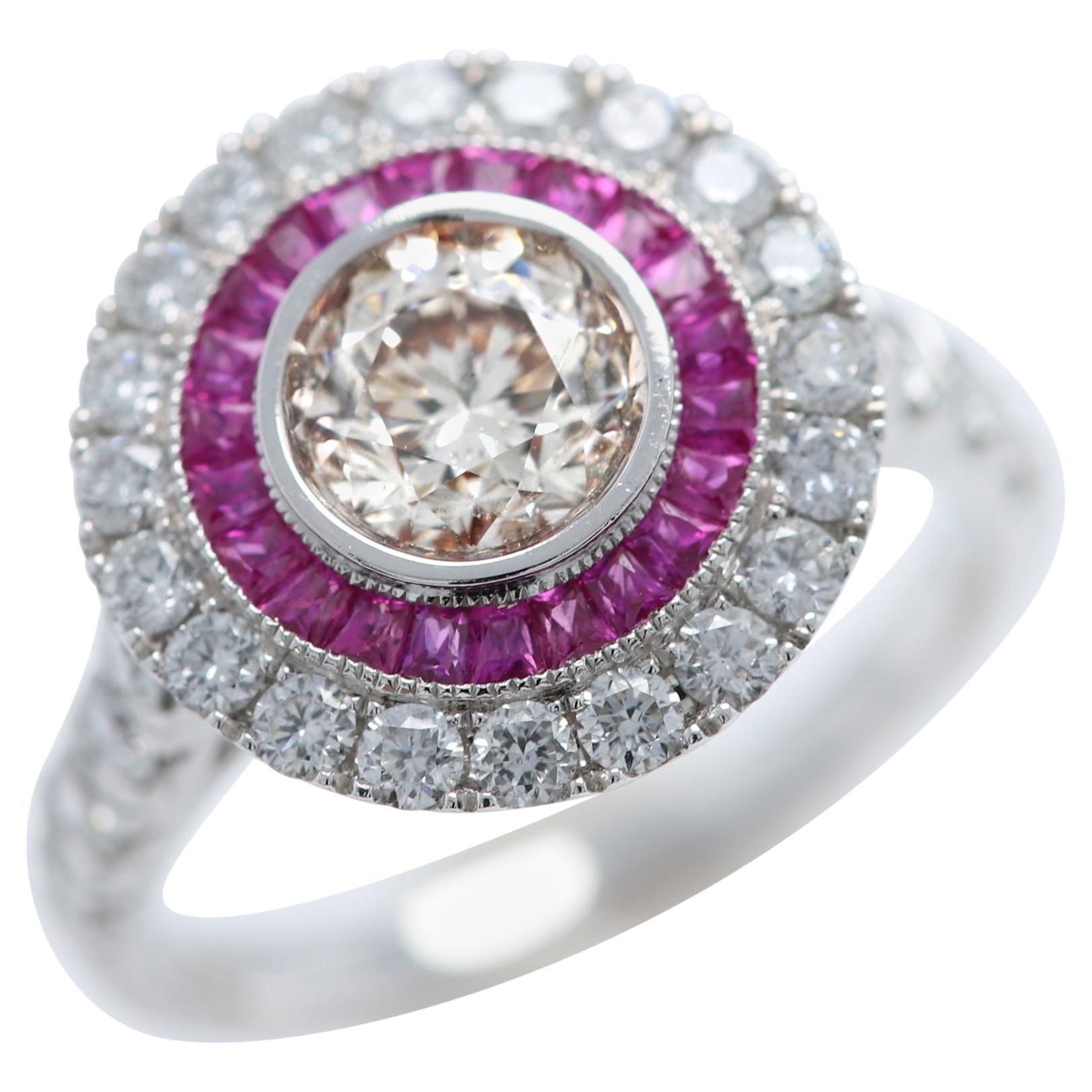 Art Deco Style Ring Ruby and Diamonds 18 Karat White Gold