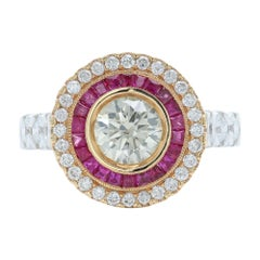 Art Deco Style Ring Ruby and Diamonds 18 Karat White & Yellow Gold Center 1.09ct