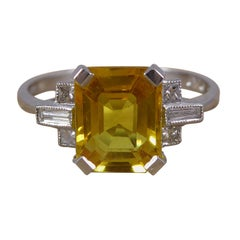 Art Deco Style Ring with Yellow Sapphire, Baguette and Princess Cut Diamonds