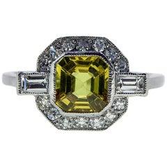 Art Deco Style Ring, Yellow Sapphire and Diamond Octagonal Cluster, Platinum