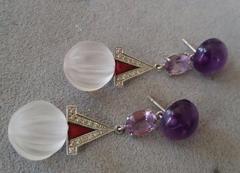 Mixed Cut Art Deco Style Rock Crystal Amethyst Gold Diamonds Red Enamel Dangle Earrings For Sale