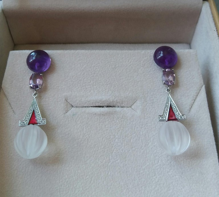 Art Deco Style Rock Crystal Amethyst Gold Diamonds Red Enamel Dangle Earrings In Good Condition For Sale In Bangkok, TH