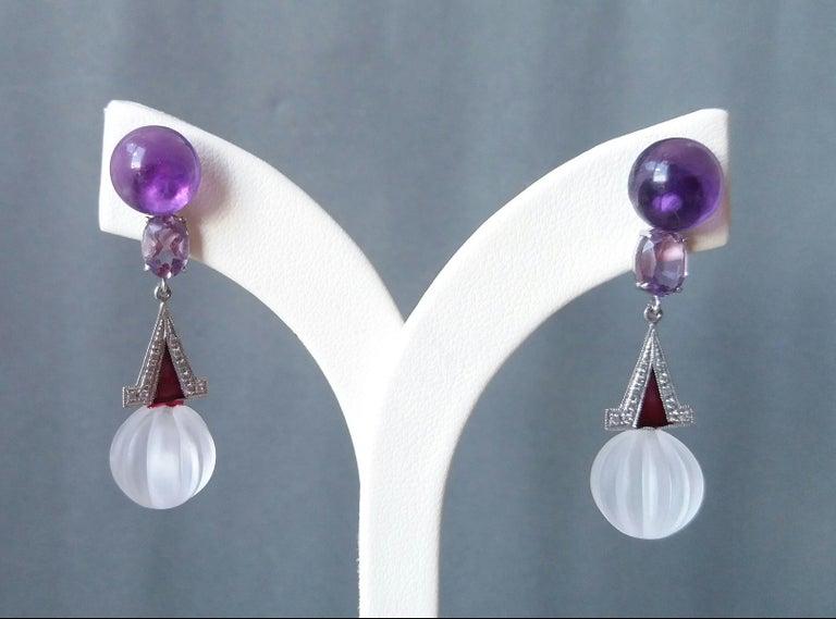 Women's Art Deco Style Rock Crystal Amethyst Gold Diamonds Red Enamel Dangle Earrings For Sale