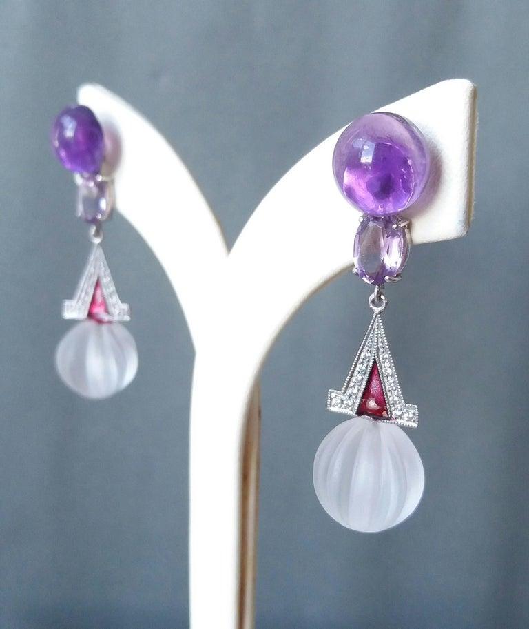 Art Deco Style Rock Crystal Amethyst Gold Diamonds Red Enamel Dangle Earrings For Sale 1