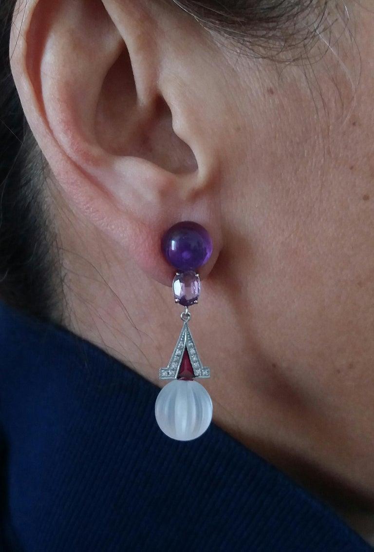 Art Deco Style Rock Crystal Amethyst Gold Diamonds Red Enamel Dangle Earrings For Sale 2