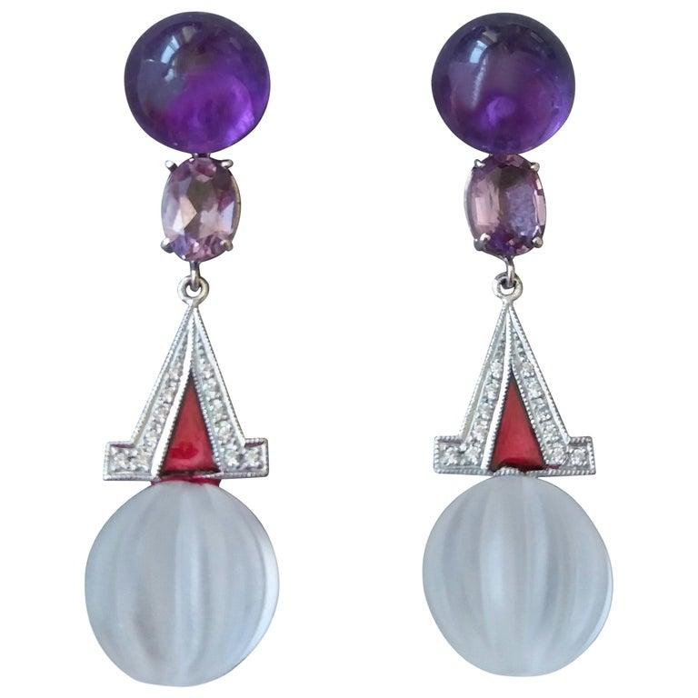 Art Deco Style Rock Crystal Amethyst Gold Diamonds Red Enamel Dangle Earrings For Sale