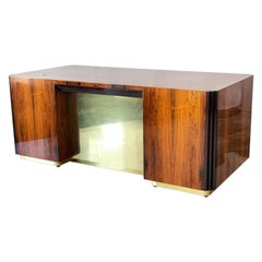 Art Deco Style Rosewood and Brass Executive Desk