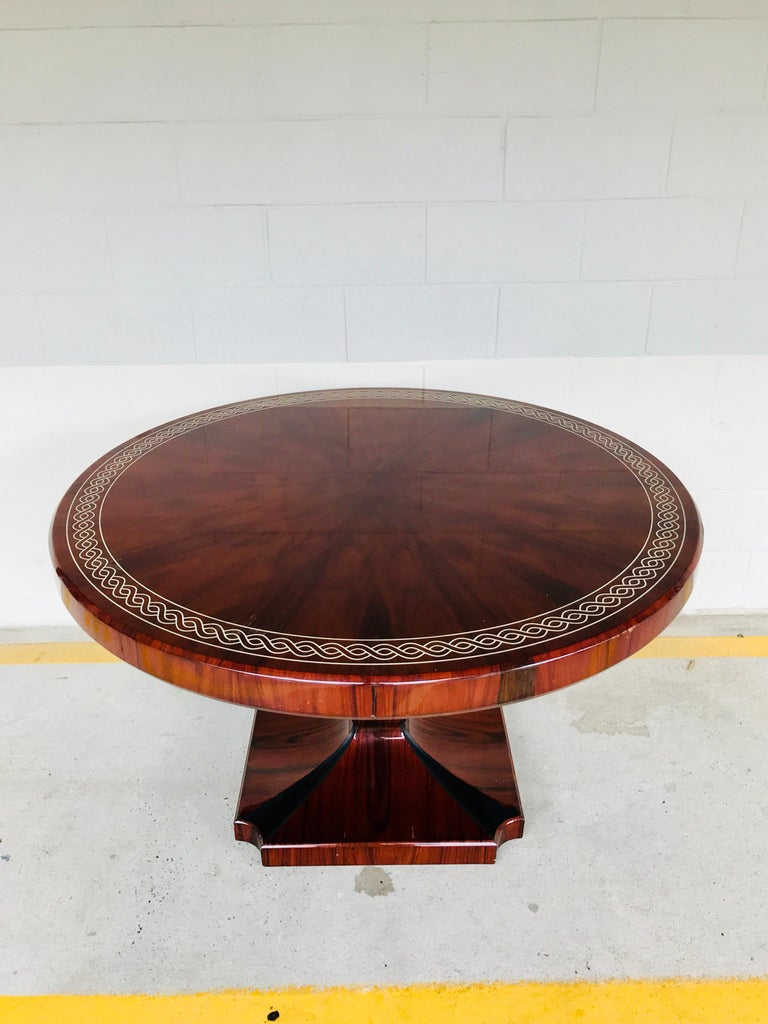 Art Deco Style Rosewood Centre Table with Lacquer Inlay In Good Condition For Sale In Atlanta, GA