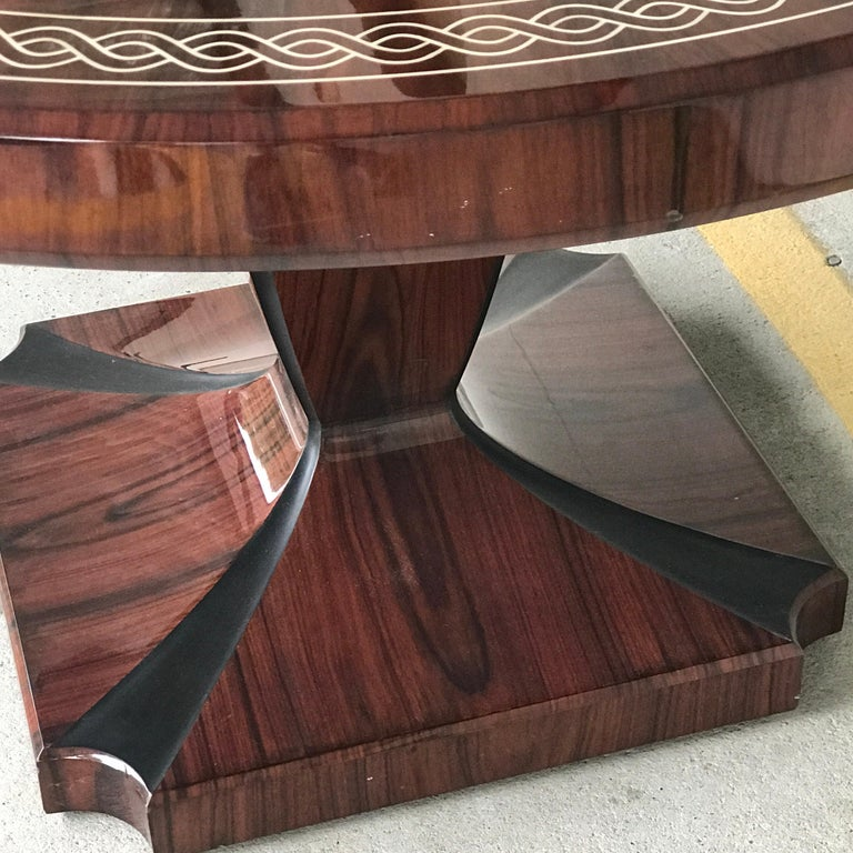 20th Century Art Deco Style Rosewood Centre Table with Lacquer Inlay For Sale