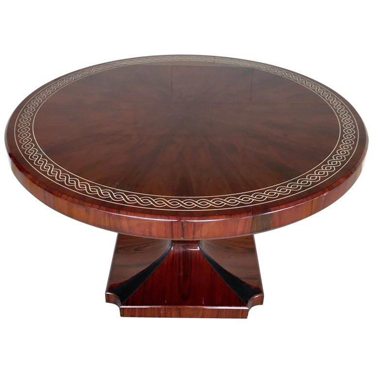 Art Deco Style Rosewood Centre Table with Lacquer Inlay For Sale