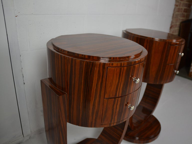 Art Deco Style Rosewood Nightstands In Good Condition For Sale In Pasadena, CA