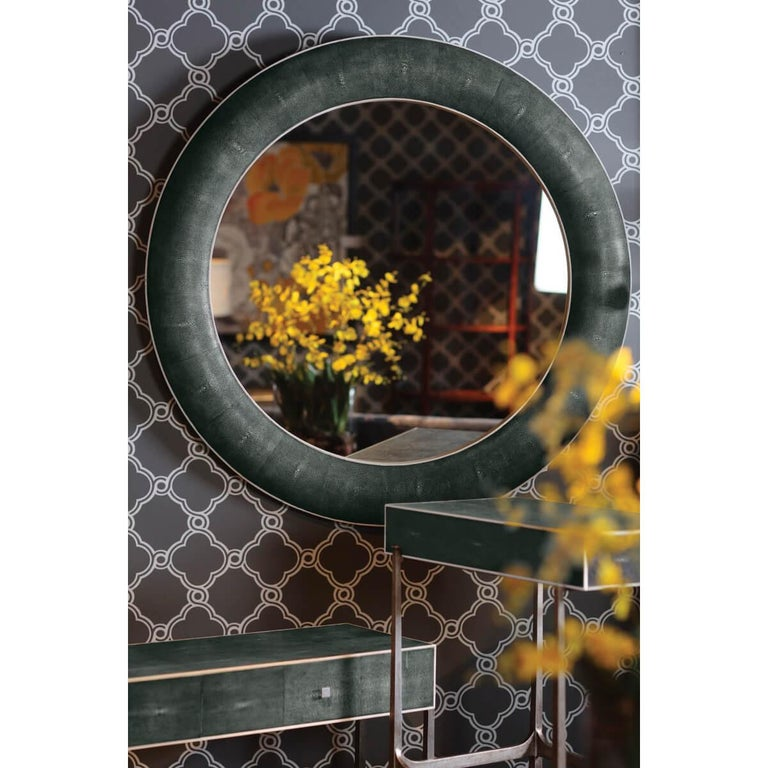 Contemporary Art Deco Style Round Mirror For Sale